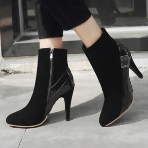 Women-Short-Ankle-Boots-Suede-Pointy-Toe-Zip-Stilettos-High-Heel-Booties-Shoes