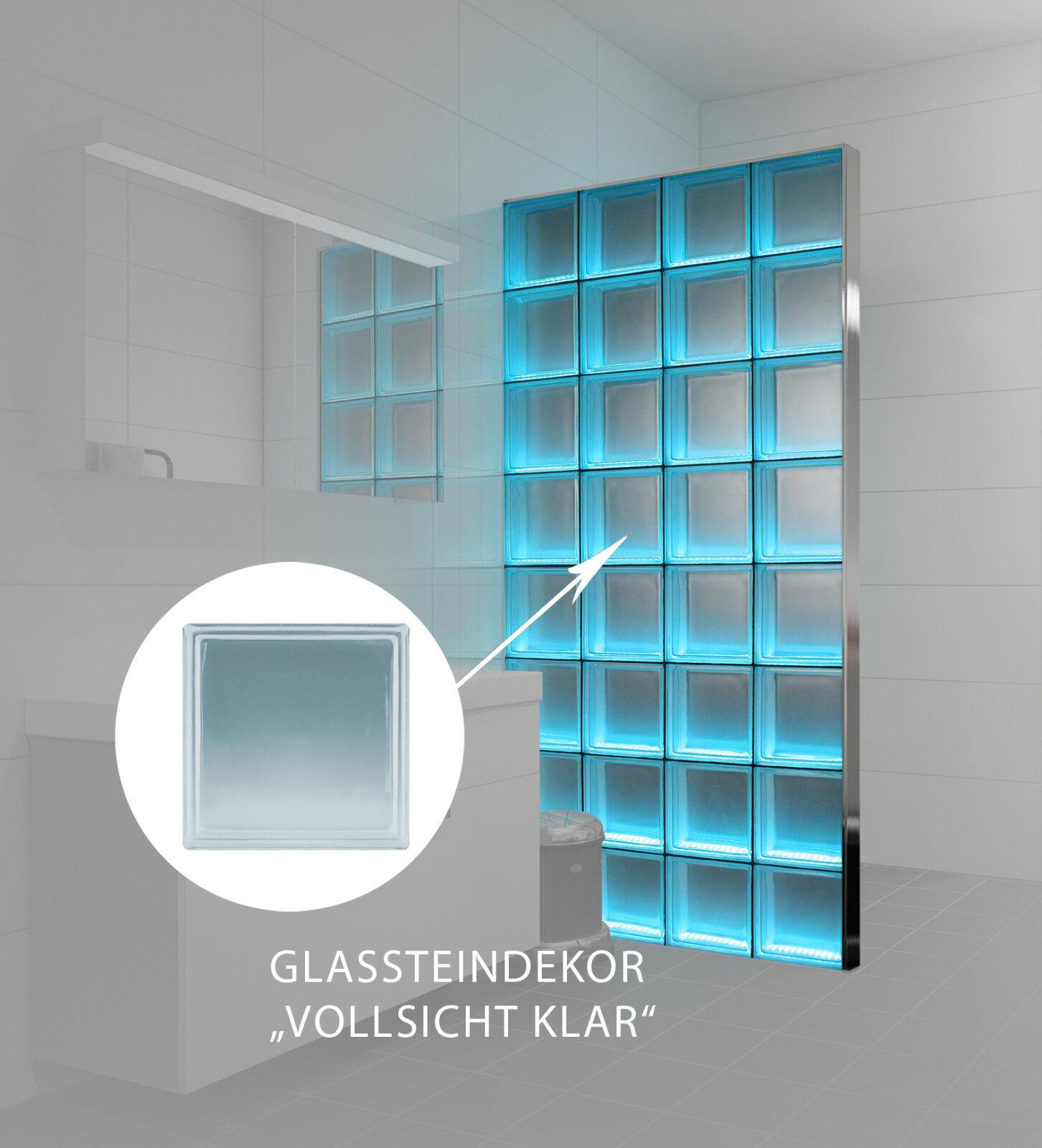 LMW Light My Wall beleuchtete Glassteinwand Vollsicht klar 24x24x8 cm