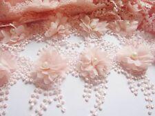 2y Flower Chiffon Lace Edge Trim Pearl Wedding Applique DIY Sewing-Light Pink