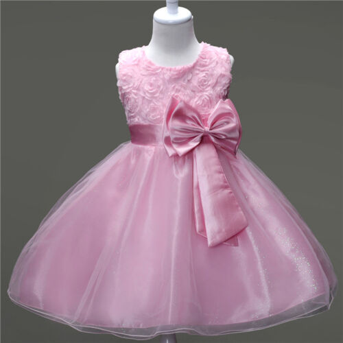 Infant Girls Princess Bow Gown Baby Kids Wedding Bridesmaid Pageant Tulle Dress