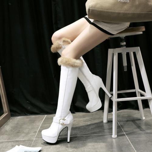 botas muslo mujer talón tacón de aguja 12.5 como cm blanco cómodo caldi como 12.5 piel e10ef8