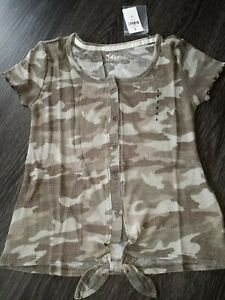Girls-justice-ruffled-front-knot-button-up-size-8-new-camo