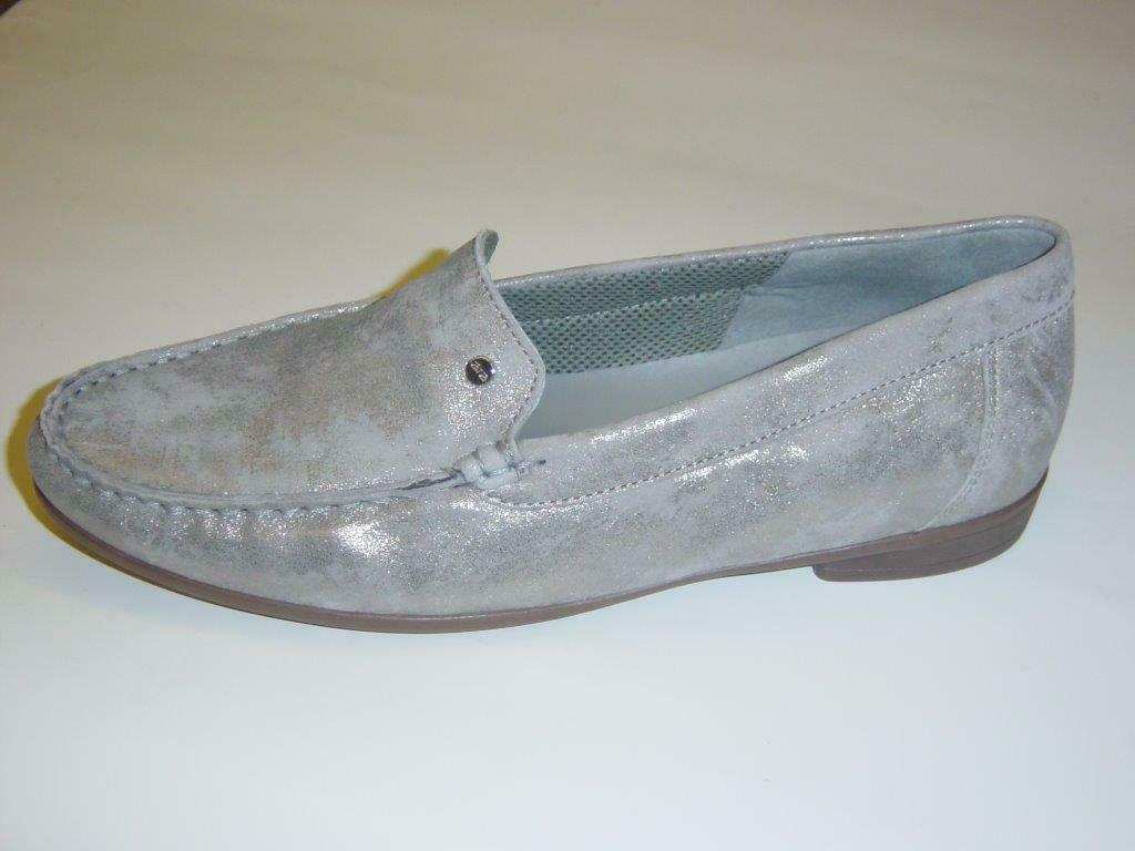 Ara Mokassins Slipper   grey-metallic (silver)   Nubukleder   UK 7,5   EUR 41