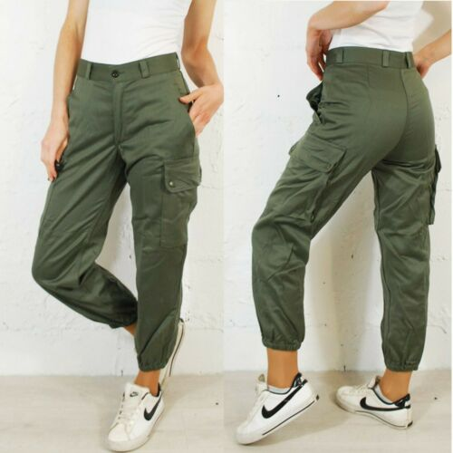 VTG Unisex High Waisted Slim Fit Army Cargo Camo Pants Trousers Green 6 8 10