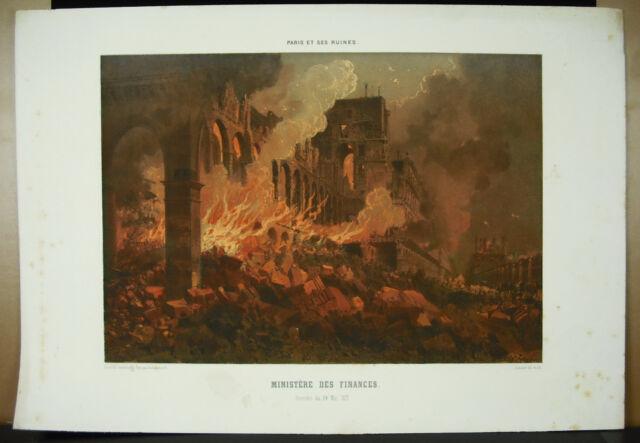 Sabatier Sc Nantes Lith Carpenter Fire Of Ministry Of Finance 1871