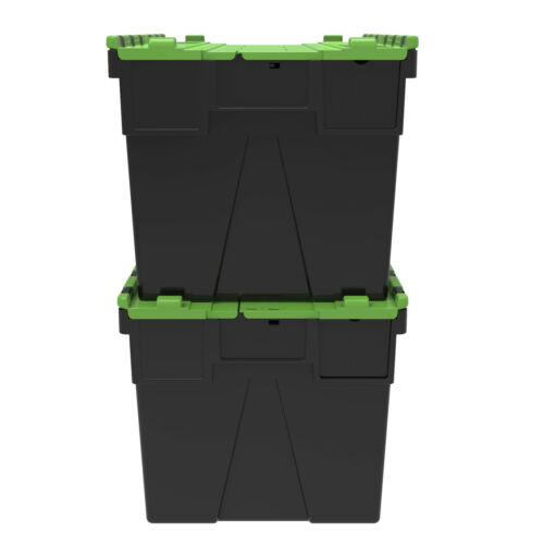65L Pk 2 Large Loadhog Attached Green Lid Containers 600x400x365mm