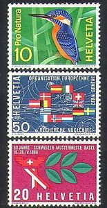 Switzerland-1966-Kingfisher-BIrds-Nuclear-Science-Industry-Fair-Nature-3v-n38350