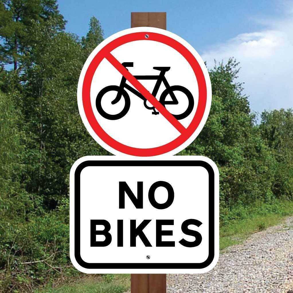 NO BIKES SIGN, Robust Bicycle Sign, No Mountain Bike Sign, Bike Warning Sign