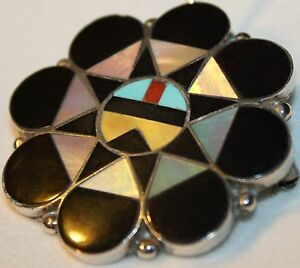 925 SILVER SUNFACE TURQUOISE MOP PIN PENDANT HAND SIGNED A. DISHTA ZUNI STERLING