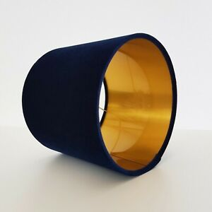 Navy-Blue-Velvet-Lampshade-Metallic-Gold-Drum-Lightshade-Floor-Lamp-Stand