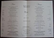 MENU PAQUEBOT FRANCE. Première classe, samedi 3 Mars 1962.