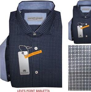 Ascot Sport Camicia Uomo Regular manica lunga cotone blu casual classica Quadri