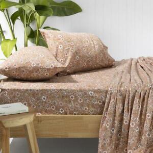 Bambury Marguerite Flannelette Sheet Set - Bisque