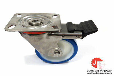 """4DLSSSSB 4/"""" Swivel Caster Stainless Steel Solid Poly Wheel with Top Lock Brake"""