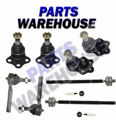 8 Pc Kit Front Upper and Lower Ball Joints Inner and Outer Tie Rod Ends RWD Only
