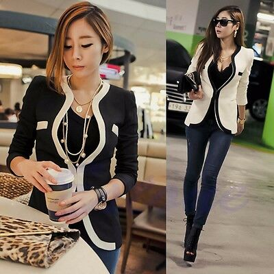 New Fashion Women White Black Colors Suit Blazer Coat Slim Jacket Outerwear