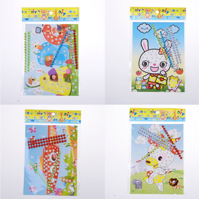12 Pcs DIY Bling  Diamond Sticker Handmade Crysta Paste Painting Kids Crafts JR