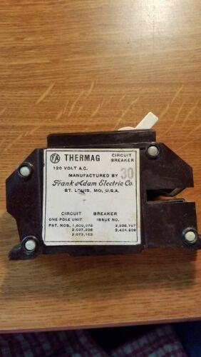 FRANK ADAMS THERMAG 30 AMP 1 POLE 120 VOLT CIRCUIT BREAKER