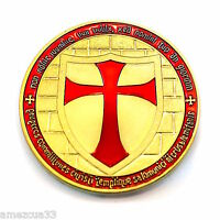 Knight Templar 1.5 Round Two Face Coin Golden Heavy Alloy For Templar Military