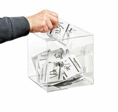 AdirOffice Clear Acrylic 8 x 8 Donation Box Ballot Cash Suggestion Comment Box