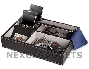 Mens 5 Compartment Valet Jewelry Box Mens Dresser Wallet Tray