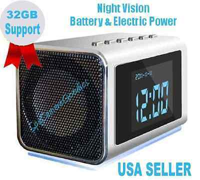 Night Vision Hidden MINI Nanny SPY CAM Clock Radio Camera 32GB Mem Support DVR
