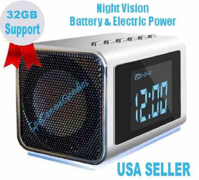 Night Vision Hidden MINI Nanny SPY CAM Clock Radio Camera 32GB Mem Support DVR