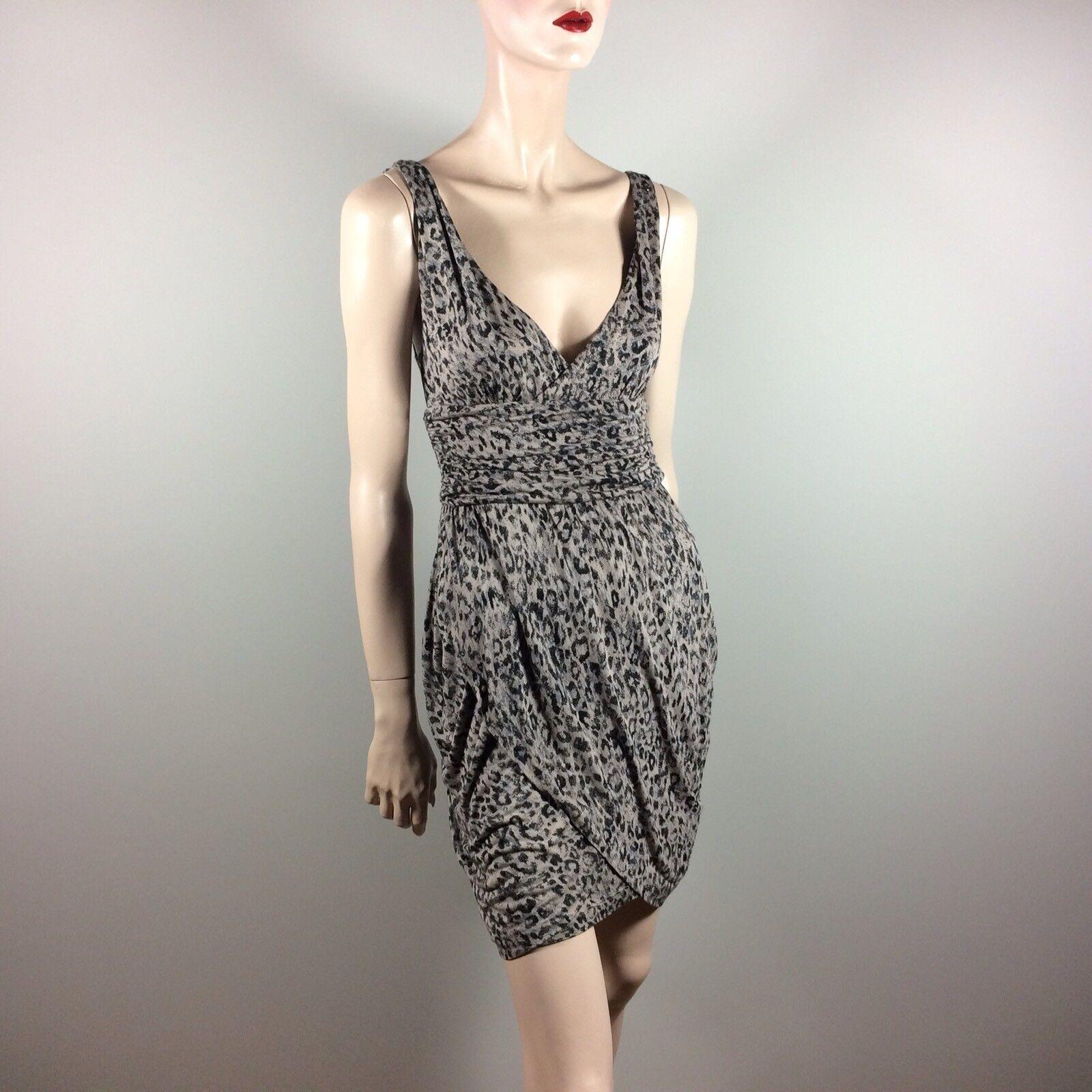 GUESS Los Angeles Donna Donna Donna vestito M 38 GRIGIO Leo ANIMAL print shift dress Diva GLAMOU 10eab2