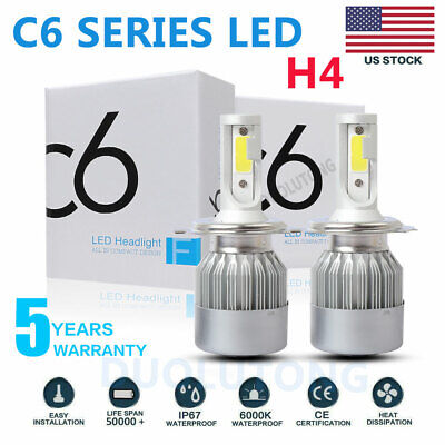 H4 9003 HB2 LED High Low Beam Headlight Kit 390000LM 2600W Bulbs 6000K White 2X