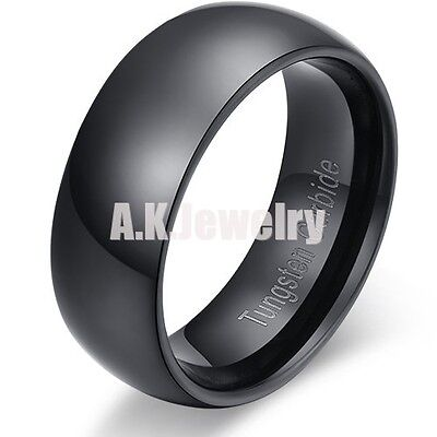 Mens 8MM Tungsten Carbide Dome Black Wedding Band Ring Polished 8 9 10 11 12 13