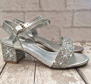 f9f9d8744c9 Image is loading Ladies-Silver-Sparkly-Glittery-Block-Heel-Ankle-Strap-