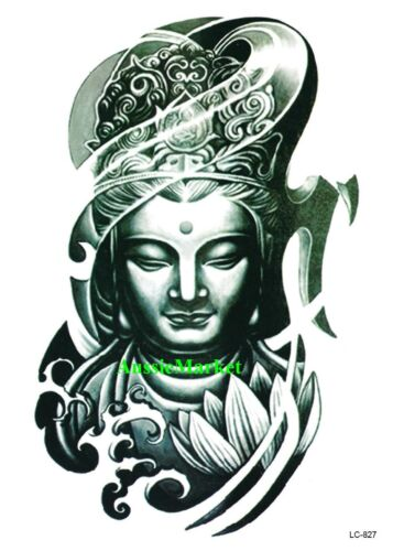 1 x temporary tattoo sticker sheet buddha party body art fancy dress arm sleeve