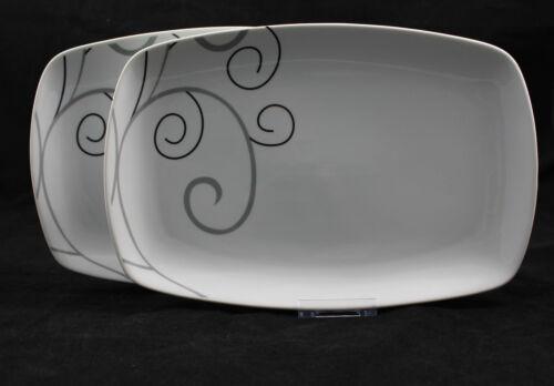 2er Set Platte Servierplatte Servier Teller Porzellan Malia ann Eckig ca.31cm