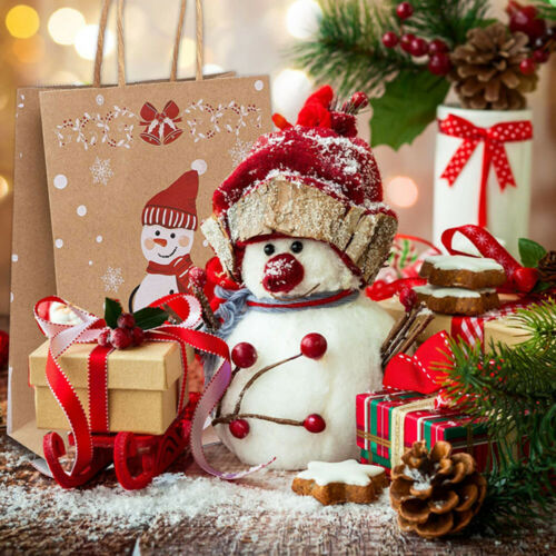 Bags With Handle Kraft Paper Gift Box Snowman Christmas Gift Bags Cake Package
