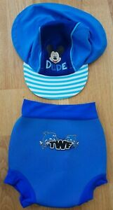 60a987097 Details about Disney Mickey Mouse 3-23 months baby boy sun swim hat blue  stripe nappy westuit
