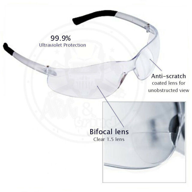 5e1ca9dbb17 (3 Pack) Bifocal Safety Glasses Clear 2.5 Diopter Reader Safety Glasses