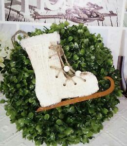 Details Sur Patin A Glace Hiver Decoration De Noel Bois Shabby Chic Vintage Maison Campagne