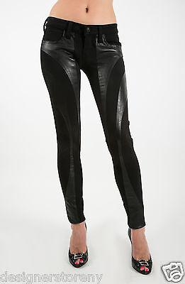 Frankie B Bionic Stretch Leather Legging Jeans in Black