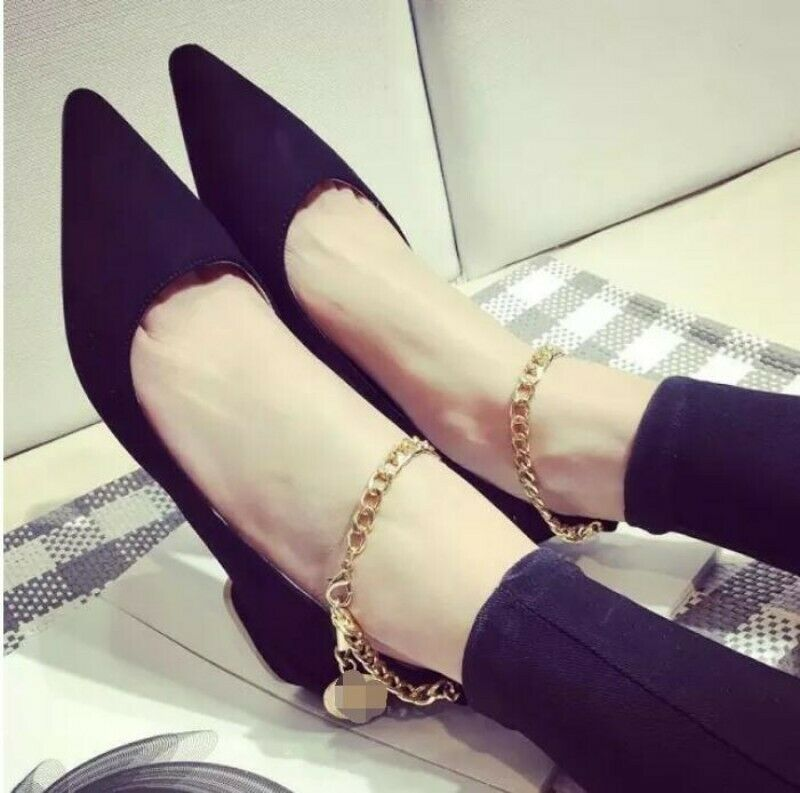 Sexy Womens Pointed Toe Ballet Flats Ankle Metal Chain Loafer Casual Pumps shoes