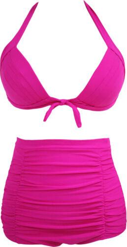 Bikini Damen Bademode Badeanzug Neckholder Push-Up High Waist 36 38 40 42 44