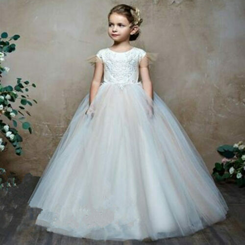 Tulle Applique Flower Girl Dress Princess Pageant Prom Birthday Ball Gown