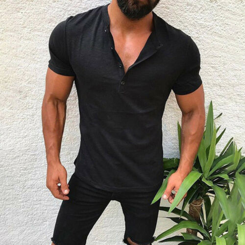 Mens Casual Solid Design Buttons V-Neck T-Shirt Short Sleeve Shirt Tops Blouse