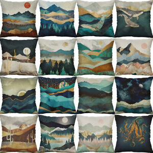 18-034-Vintage-mountains-Cotton-Linen-Sofa-Cushion-Cover-Home-Decor-Pillow-Case
