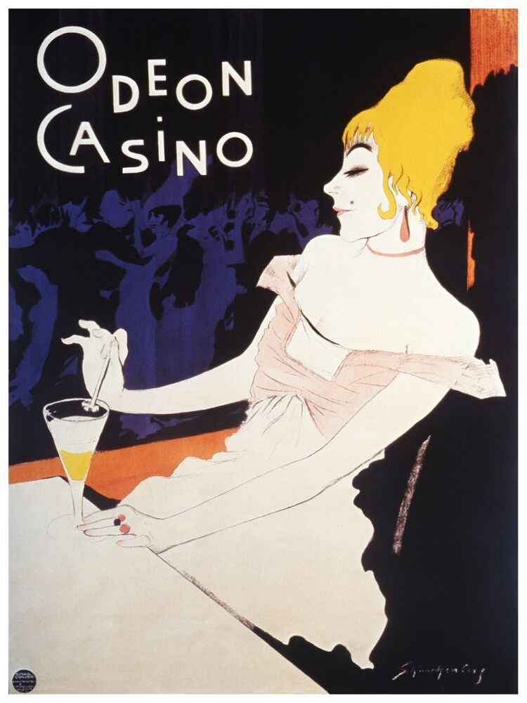 5599.Odeon Casino.blonde woman at piano with drink.POSTER. Home Office decor