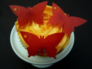 Details about 30 SINGLE CHINA CHINESE FLAG BUTTERFLIES EDIBLE RICE WAFER  PAPER TOPPERS