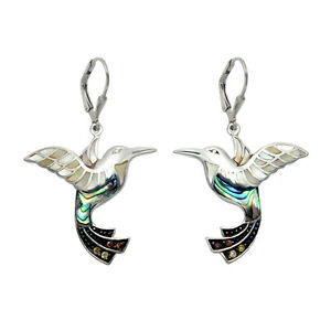Sterling-Silver-amp-Inlaid-Shell-Hummingbird-Leverback-Earrings-SE1200