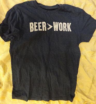 "Beer > Work Men's Med Short Sleeved T-shirt Length 23"" Width 19"" Free Shipping"