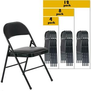 4/8/12 PACK Folding Chair Fabric Upholstered Padded Seat Metal Frame Home Office