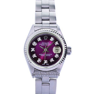 Rolex-Lady-Datejust-Purple-Diamond-Dial-Fluted-Bezel-26mm-Oyster-Band-Watch