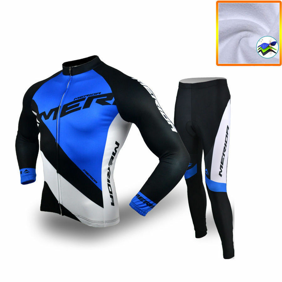 Merida Winter Bicycle Clothing Thermal Fleece Cycling Jersey and Pants Set bluee